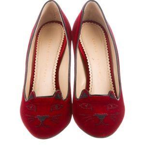 CHARLOTTE OLYMPIA Red Velvet Kitty Pumps 38 EU